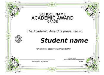 Editable/printable certificate