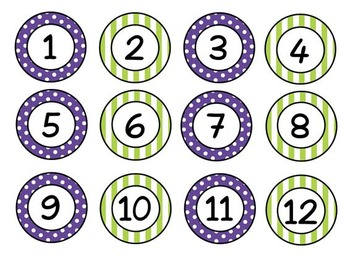 Purple and Lime chalkboard nametags, desk plates, numbers, lunch choices