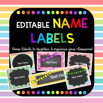 Editable Chalkboard Colourful Name Labels