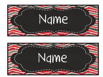 Editable red, gray glitter chevron chalkboard nameplates/ desktags/ deskplates