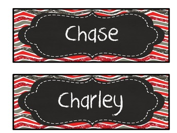 Editable red, gray glitter chevron chalkboard nameplates/