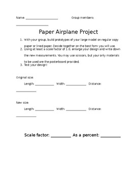 Editable scale factor paper airplane project with rubric