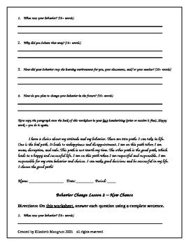 Editable series of behavior reflection worksheets