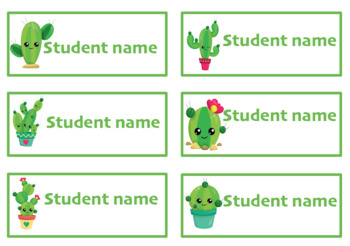 Editable student name and classroom labels- Cactus Theme
