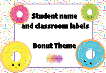 Editable student name and classroom labels- Donut Theme