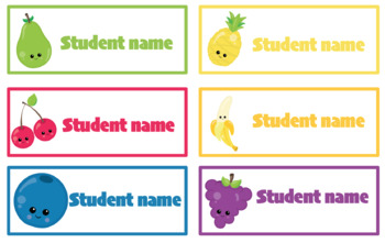 Editable student name and classroom labels- Fruit Theme
