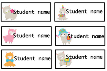 Editable student name and classroom labels- Llama Theme