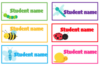 Editable student name and classroom labels- Mini Beast Theme