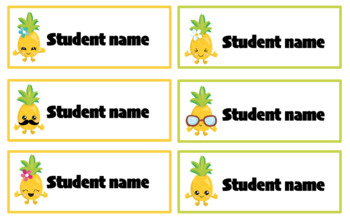Editable student name and classroom labels- Pineapple Theme
