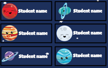 Editable student name and classroom labels- Solar System Theme