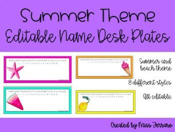 Editable summer/beach desk name plates/tags