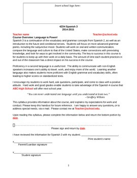 Editable syllabus for Spanish 3 class