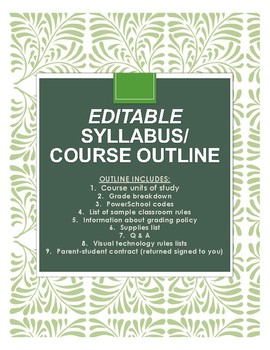 Syllabus/ course outline + parent and student form (editable and attractive!)
