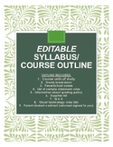 Syllabus/ course outline + parent and student form (editab