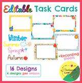 Editable task card templates seasonal themed