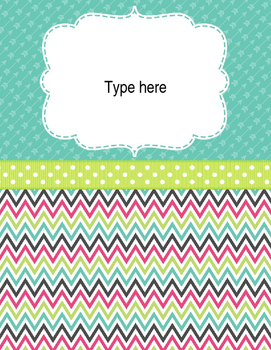 Teacher Binder Covers and Spines Chevron theme (Editable in PowerPoint)