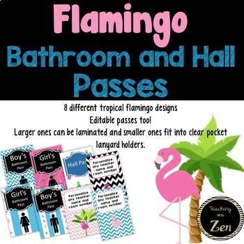 Editable tropical flamingo bathroom hall passes