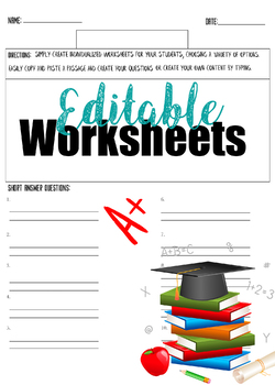 Editable worksheet (Multiple choice 10 questions)