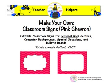 Back to School Editable Classroom  & Computer Signs (Pink Chevron)