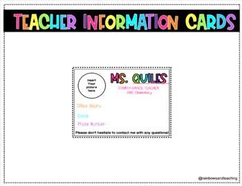 Editable Teacher Information Cards