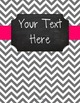 {Editable Teacher Binder} Gray Chevron Chalkboard with Pink Ribbon