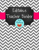 {Editable Teacher Binder} Gray Chevron Chalkboard with Pin