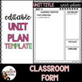 Editable Unit Plan Template for Middle School and High School
