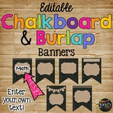 Editable Banners 48 Different Burlap and Chalkboard Pendants {Version 2}