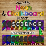 Editable Banner {Neon & Chalkboard Theme}