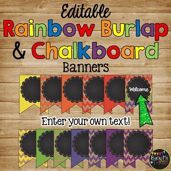 Editable Banners {Rainbow Chevron Burlap & Chalkboard Theme}