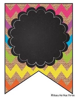 Editable Banners {Bright Chevron Burlap & Chalkboard Theme}