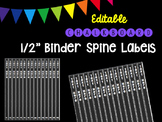 "Editble Chalkboard 1/2"" Binder Spine Labels"