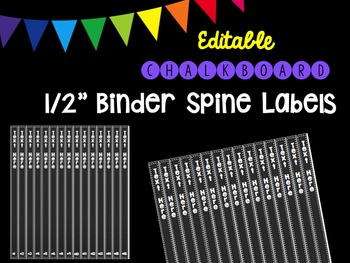 """Editble Chalkboard 1/2"""" Binder Spine Labels"""