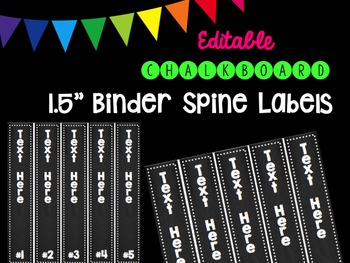 "Editble Chalkboard 1.5"" Binder Spine Labels"