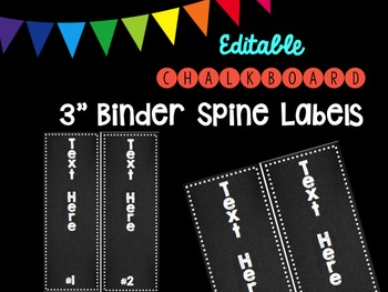 """Editble Chalkboard 3"""" Binder Spine Labels"""
