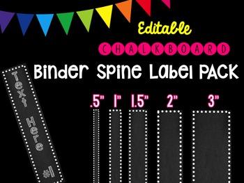 Editble Chalkboard Binder Spine Label PACK