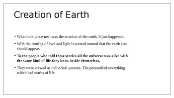 """Edith Hamilton's """"How the World and Mankind were Created"""" Powerpoint 10 slides"""