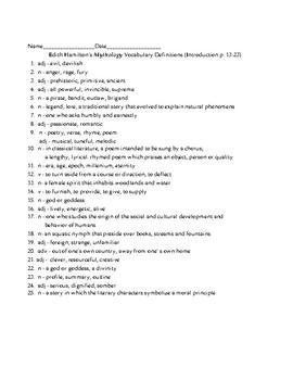 Edith Hamilton's Mythology Introduction Ch: Vocab 25wds Test and KEY