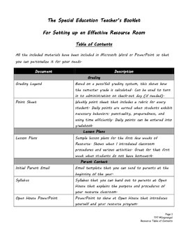 Editiable Special Education Booklet for Setting Up an Effective Resource Room
