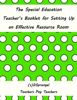 Editiable Special Education Booklet for Setting Up an Effe
