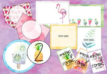 Pineapple-Flamingo-Tropical Classroom Decor GROWING BUNDLE-Set 1