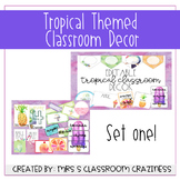 Pineapple-Flamingo-Tropical Classroom Decor GROWING BUNDLE-Set 1