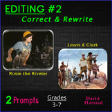 Editing #2: Rosie the Riveter and Lewis & Clark Printable Prompts (Grades 3-7)