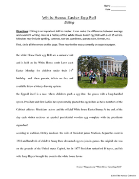 Editing #5: White House Easter Egg Roll & Valentines Printables (Grades 3-7)