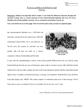 Editing #6: Transcontinental Railroad & Four Corners Printables (Grades 3-7)