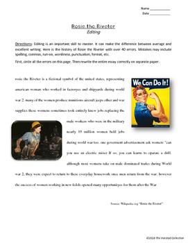 Editing Skills Worksheets: 12 Printable Prompts (Grades 3-7)
