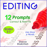 Editing and Proofreading Worksheets: 12 Printable Editing Prompts (Grades 3-7)