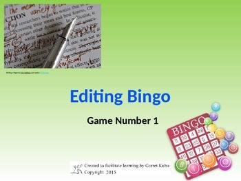 Editing Bingo Game 1
