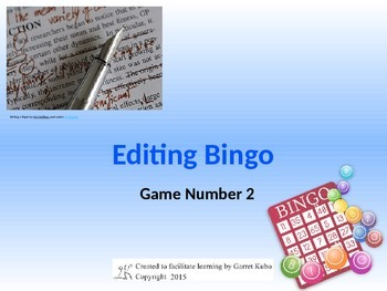 Editing Bingo Game 2