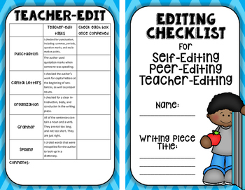 Editing Booklet: Self-edit, Peer-edit, and Teacher-Editing all in One
